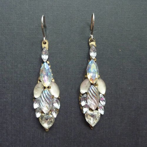 Annie Sherburne Vintage white Icicle drop crystal earrings