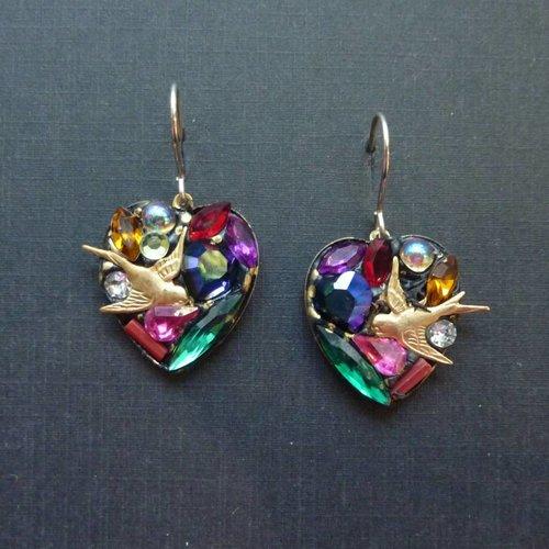 Annie Sherburne Vintage multi heart drop crystal earrings
