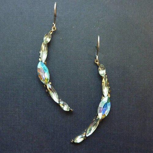 Annie Sherburne Vintage white crescent drop crystal earrings