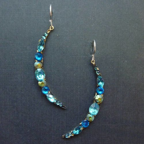 Annie Sherburne Vintage blue crescent drop crystal earrings