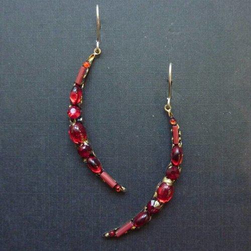 Annie Sherburne Vintage red crescent drop crystal earrings