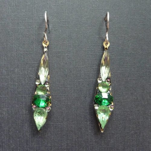 Annie Sherburne Copy of Vintage  green Icicle drop earrings crystal assemblage