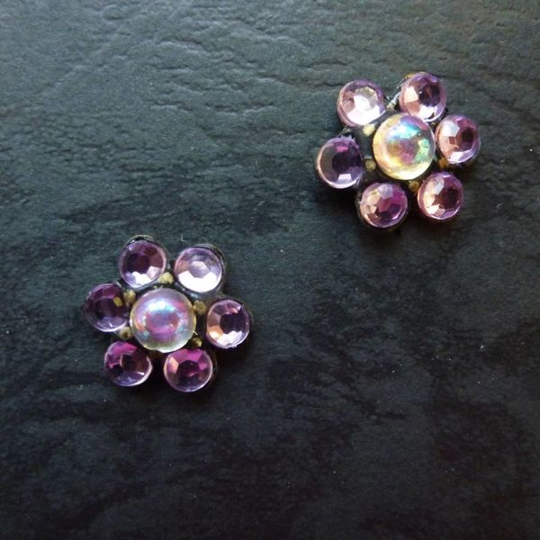 Vintage Tiny Lilac Stud earrings crystal assemblage