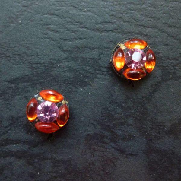 Vintage Tiny orange Stud earrings crystal assemblage