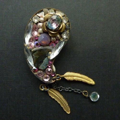 Annie Sherburne Vintage Paisley  pink crystal brooch