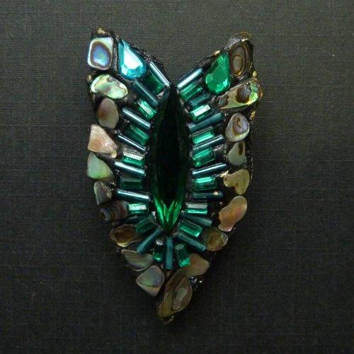 Annie Sherburne Vintage Art Nouveaux crystal brooch