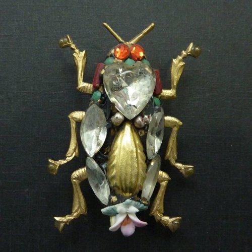 Annie Sherburne Vintage Scarab brooch crystal assemblage