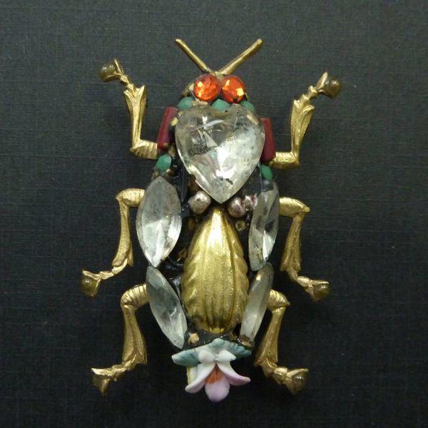 Vintage Scarab brooch crystal assemblage
