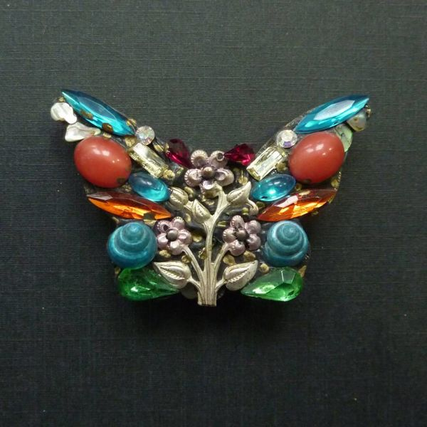 Vintage Butterfly Large brooch crystal assemblage