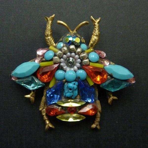 Vintage Beetle Large brooch crystal assemblage