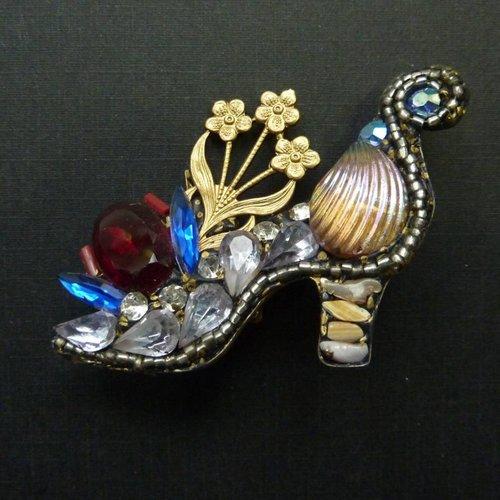 Annie Sherburne Vintage French Shoe brooch crystal assemblage