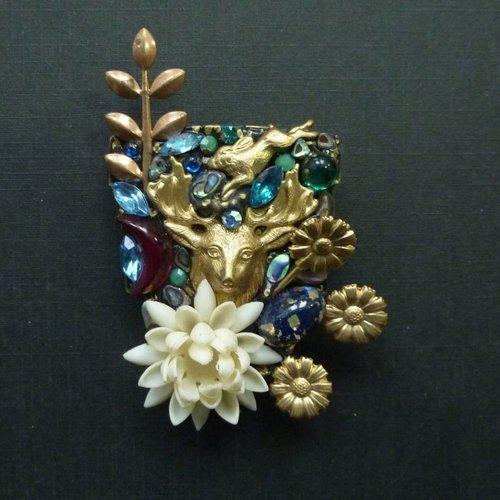 Annie Sherburne Vintage Shield with Stag crystal brooch