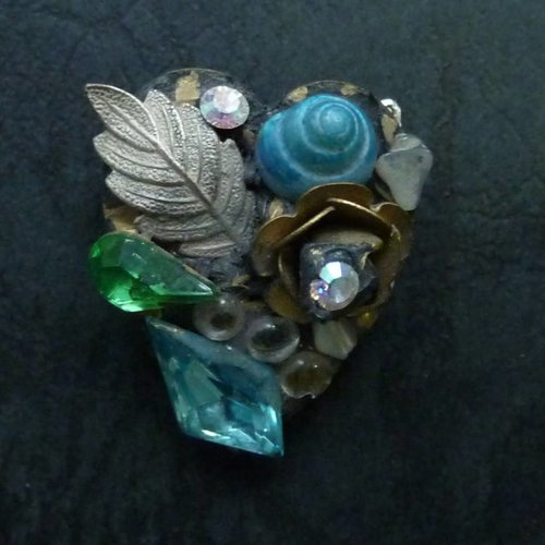 Annie Sherburne Copy of Vintage heart brooch crystal assemblage