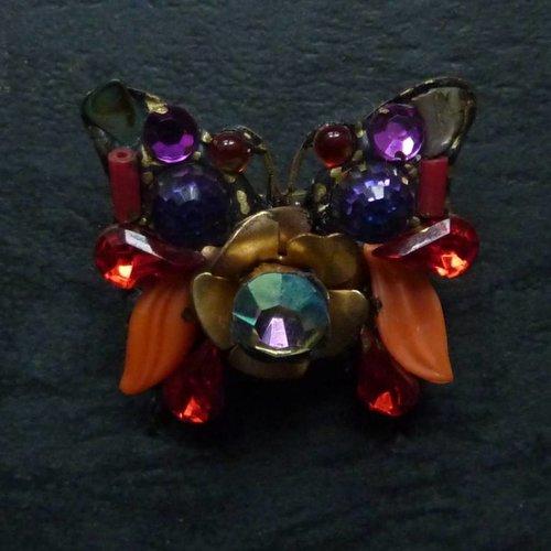 Annie Sherburne Vintage Butterfly small brooch crystal