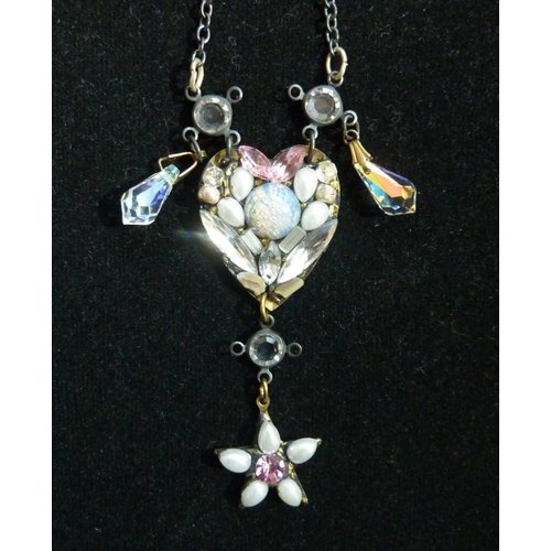 Annie Sherburne Vintage Heart crystal  necklace with drop flower