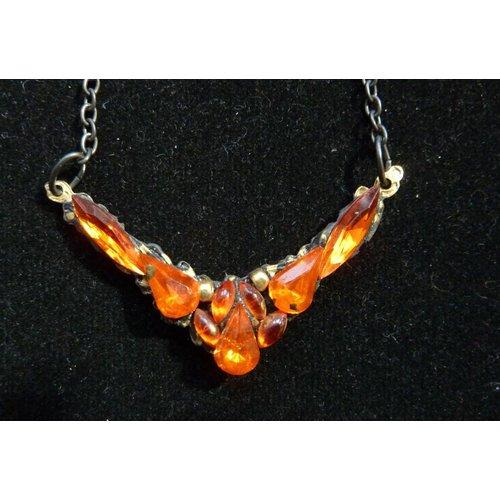 Annie Sherburne Vintage Orange Crystal  Necklace