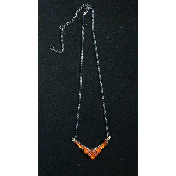 Vintage Orange Crystal  Necklace