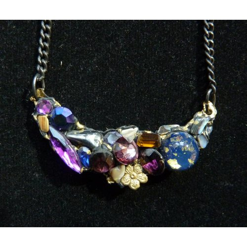 Annie Sherburne Vintage Purples Necklace with flower crystal assemblage