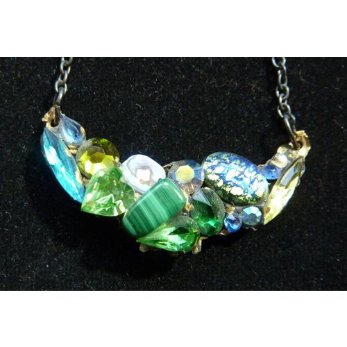 Annie Sherburne Vintage Green Necklace with Malachite crystal assemblage
