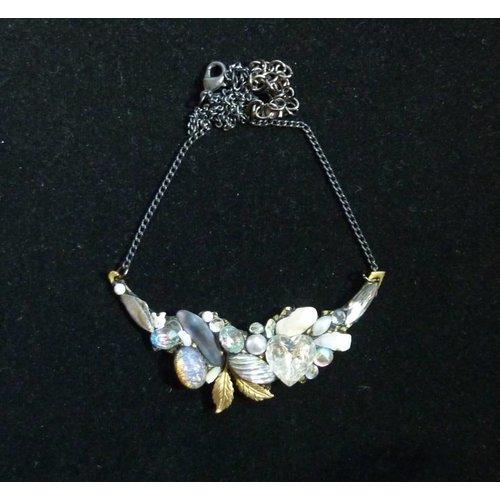 Annie Sherburne Vintage Quartz Crystal Necklace with leaf