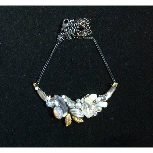 Annie Sherburne Vintage Quartz Necklace with leaf crystal assemblage