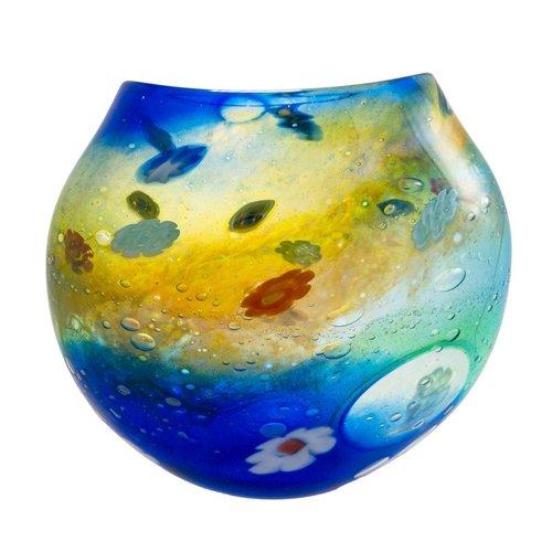 Martin Andrews Salsa aqua/gold flat vase Small