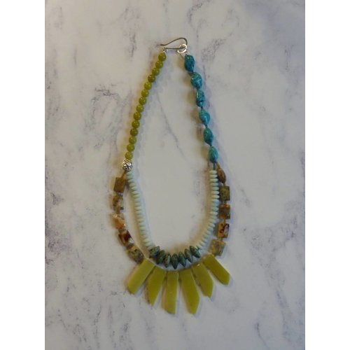 Melissa James Copy of 3 Strand Aqua, Yellow Agate, Amozonite Necklace