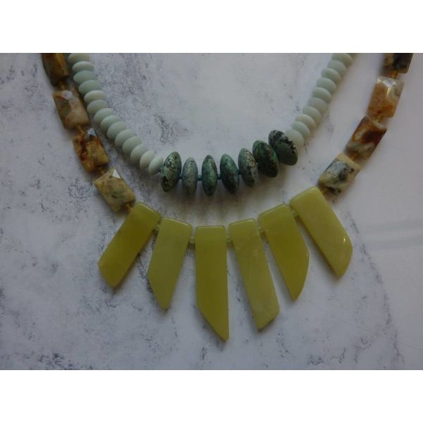 Copy of 3 Strand Aqua, Yellow Agate, Amozonite Necklace