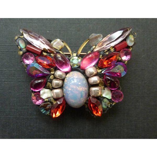 Vintage Butterfly Medium brooch crystal assemblage