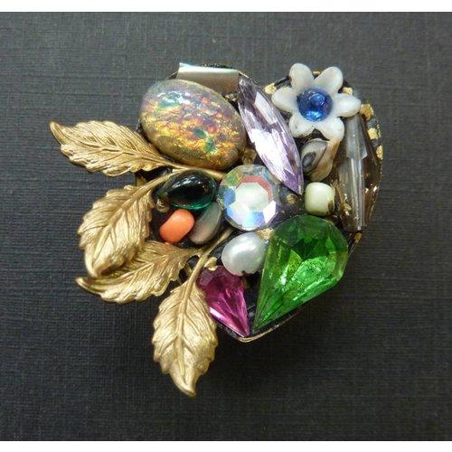 Annie Sherburne Vintage heart leaf crystal brooch