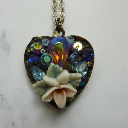 Annie Sherburne Vintage Heart pendant crystal assemblage