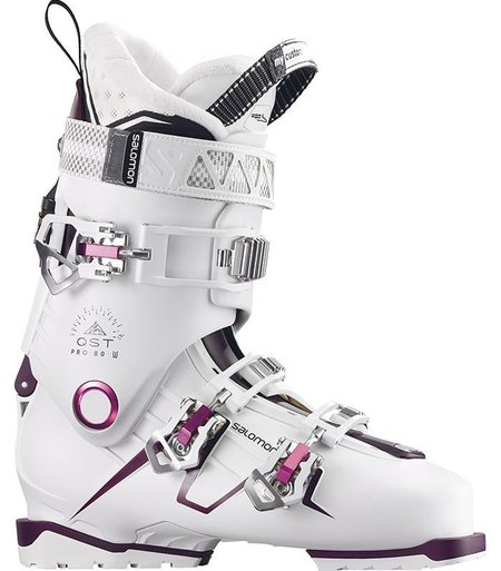 Salomon QST PRO 80W: White / Burgandy / Pink Ski Boots
