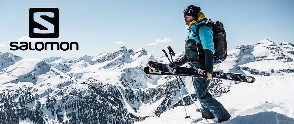 Skier with Salomon skis