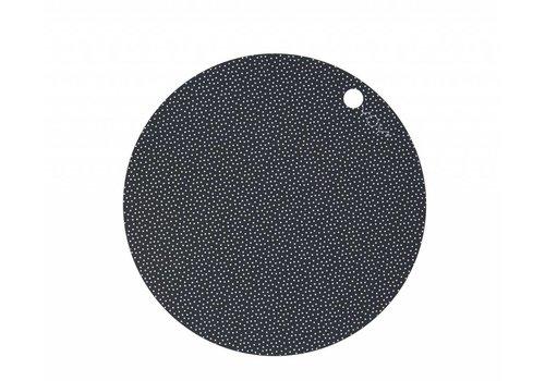 OYOY Placemats - round - dark grey dot print - 2 pcs