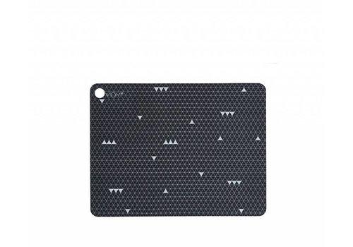 OYOY Placemats - dark grey line pattern - 2 pcs