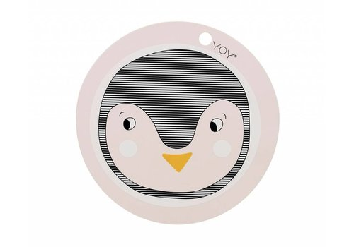 OYOY Placemat - kids - penguin - round - rose