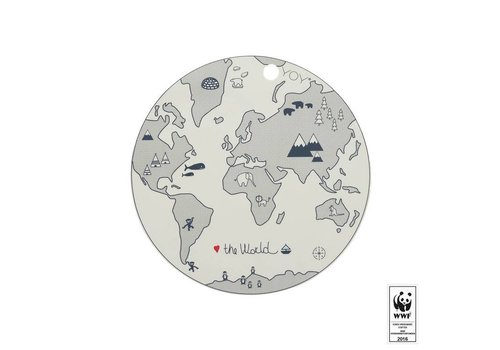OYOY Placemat - kids - the world - round - off white