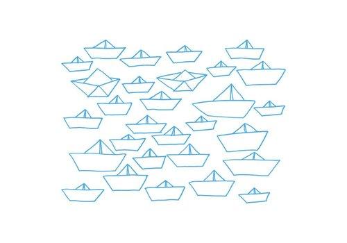 Chispum - little ships wall sticker small - blue