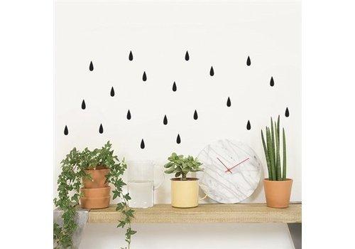 Chispum - rain wall sticker small - black