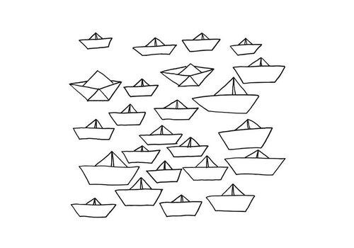 Chispum - little ships wall sticker small - black