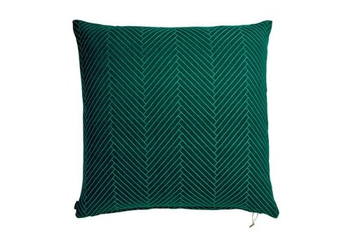 OYOY Cushion - Fluffy Herringbone - dark green