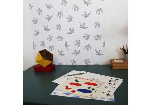 Chispum - birds repositionable wallpaper - 45x300 - black