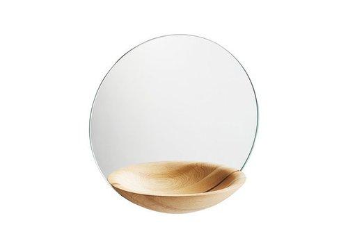 Woud Pocket mirror - large - solid oak wood care