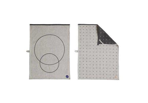 OYOY Tea Towel - Circle -  2pcs - black/white