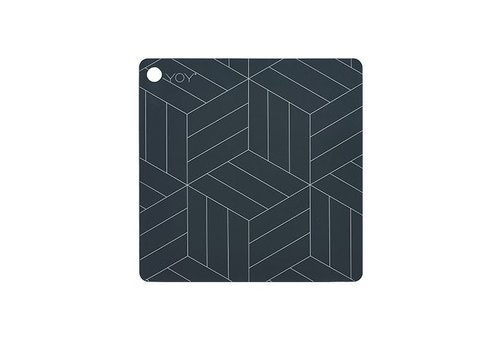 OYOY Placemats - square - mado - dark grey with white lines - 2 pcs