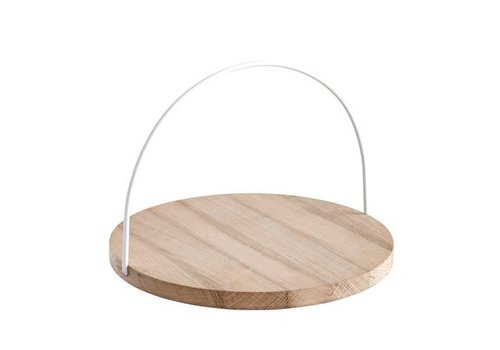 Woud Loop tray - large - oak board with white handle