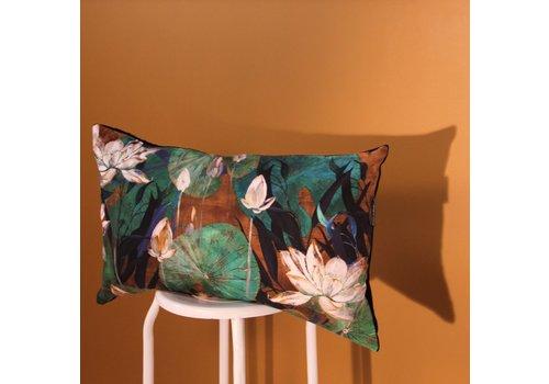 Waterside orange - cushion - blue & orange - 65x40