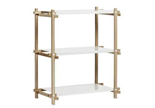 HAY Woody Column Low - L 75.5 x H 85.5 frame nature + white shelves