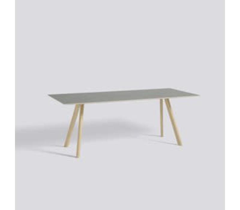 CPH30 table -250x90 - oak matt lacquer - matt lacquer plywood edge - grey lino tabletop