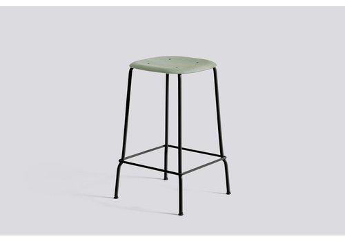 HAY Soft edge 30 bar stool - low black powder coated legs - dusty green stained oak seat